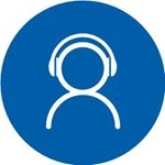 blue and white hearing test icon