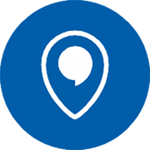 blue and white location pin icon