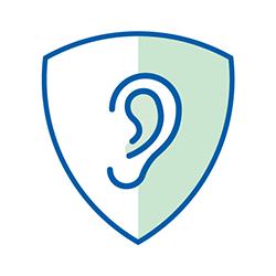ear icon in sheild