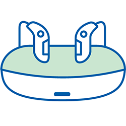 hearing aids and recharge dock icon
