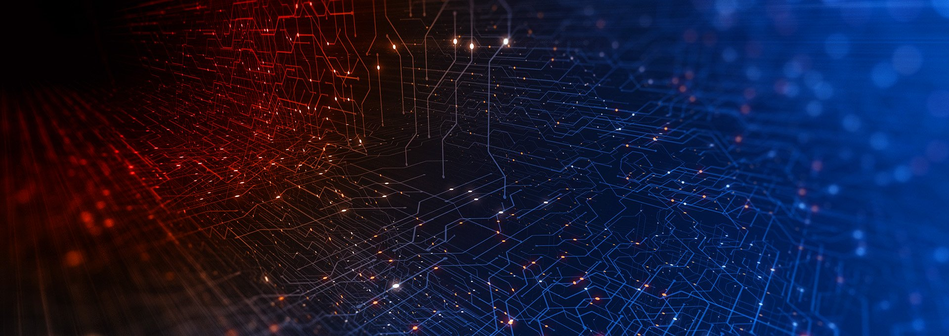 A network of connected dots illuminated in red and blue symbolizing the digital world of our Oasisnxt Fitting Software.