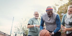 oticon brand story men playing basketball